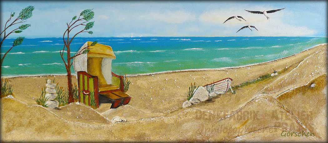 Ostsee, Gemälde, Meer, Strandkorb, Strand